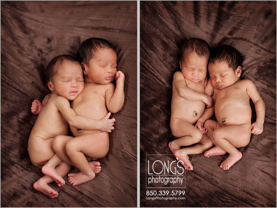 Newborn twin photos of two african american babies on a brown background www longsphotography
