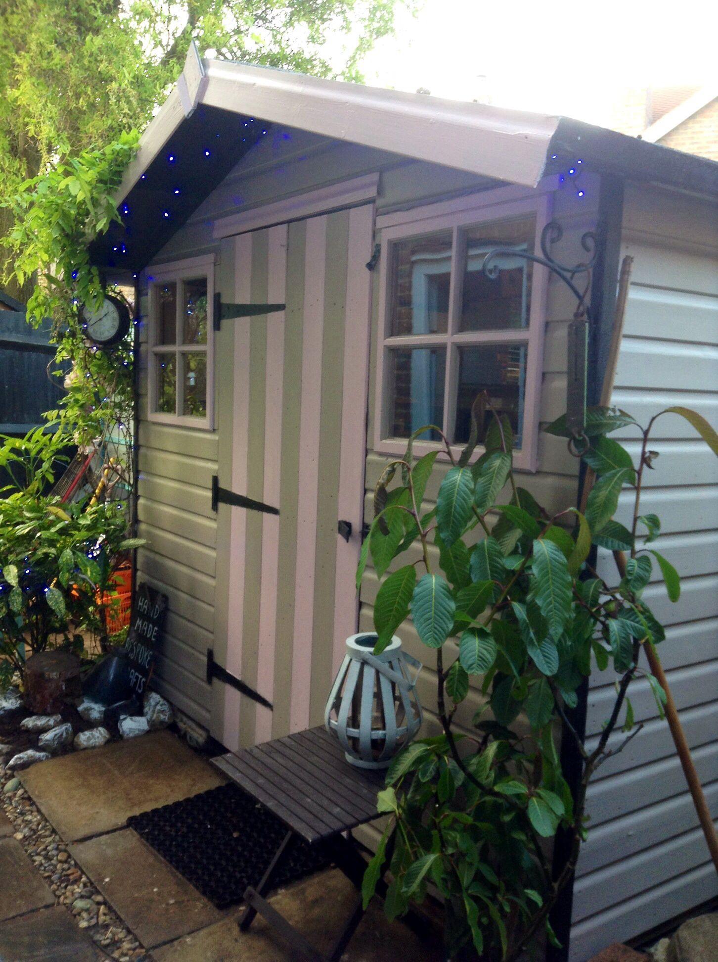 shed in beach hut style garden sheds he shed she shed. Black Bedroom Furniture Sets. Home Design Ideas