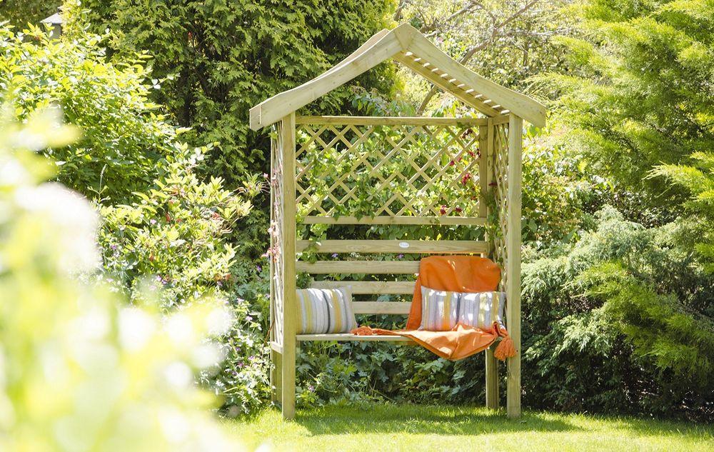 Garden Arbor Bench 2 Seater Trellis Back Patio Lawn Wooden Outdoor