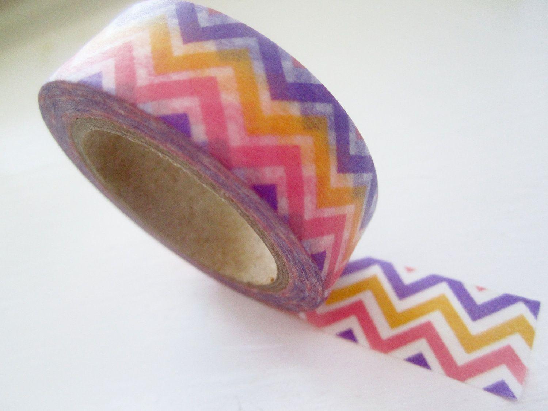 Japanese washi tape roll in zig zag fiesta style 325