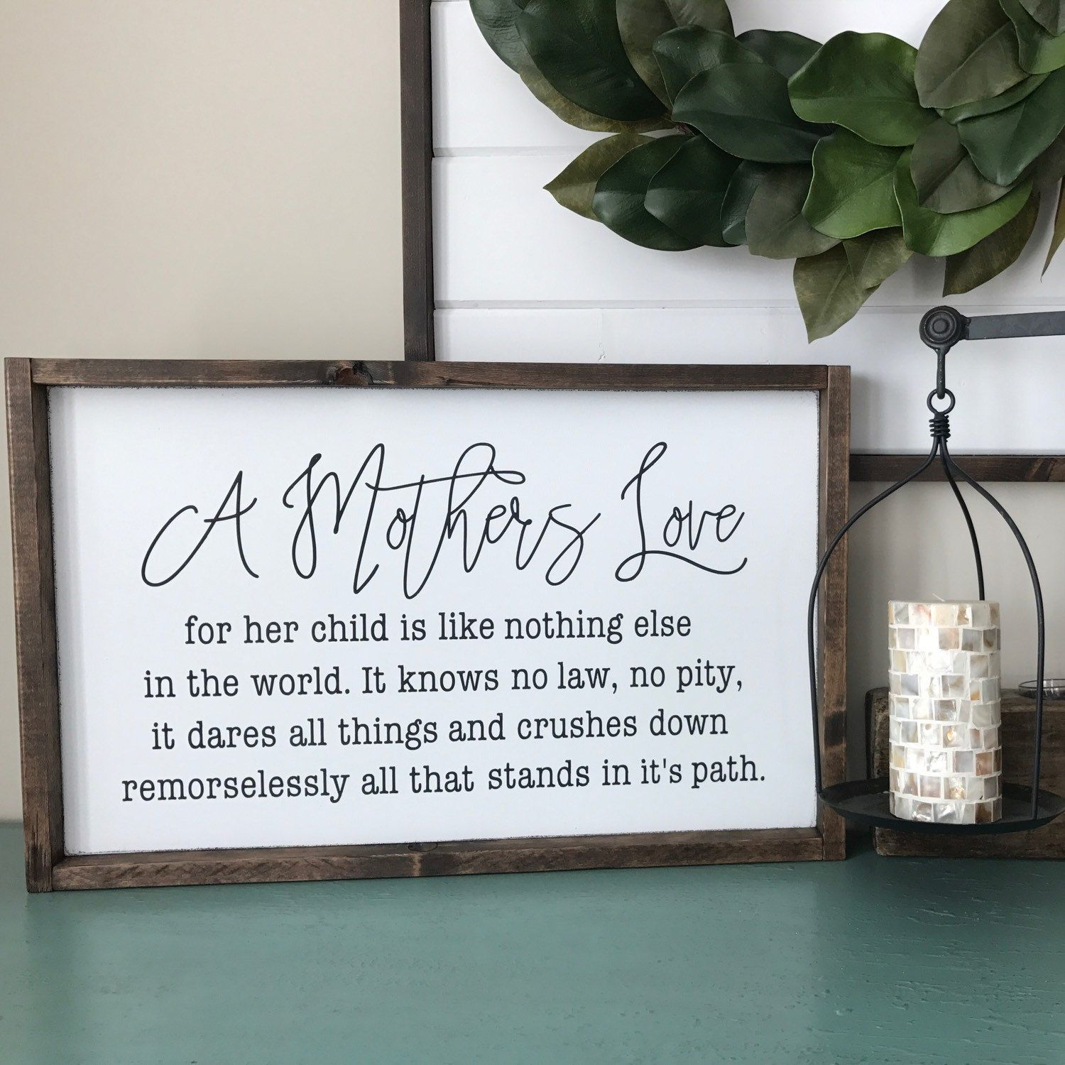 Gifts For A Farmhouse Decor Fan: A Mothers Love For Her Children Wood Sign. Mother's Day