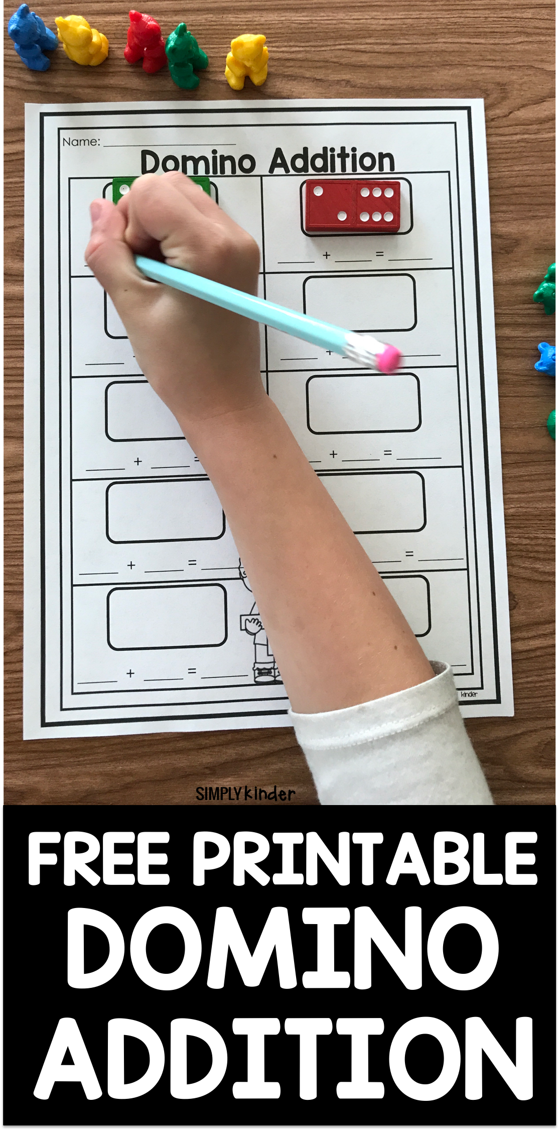 Free Printable Domino Addition Simply Kinder Kindergarten Math Games Math Addition Games Free Math [ 2250 x 1114 Pixel ]