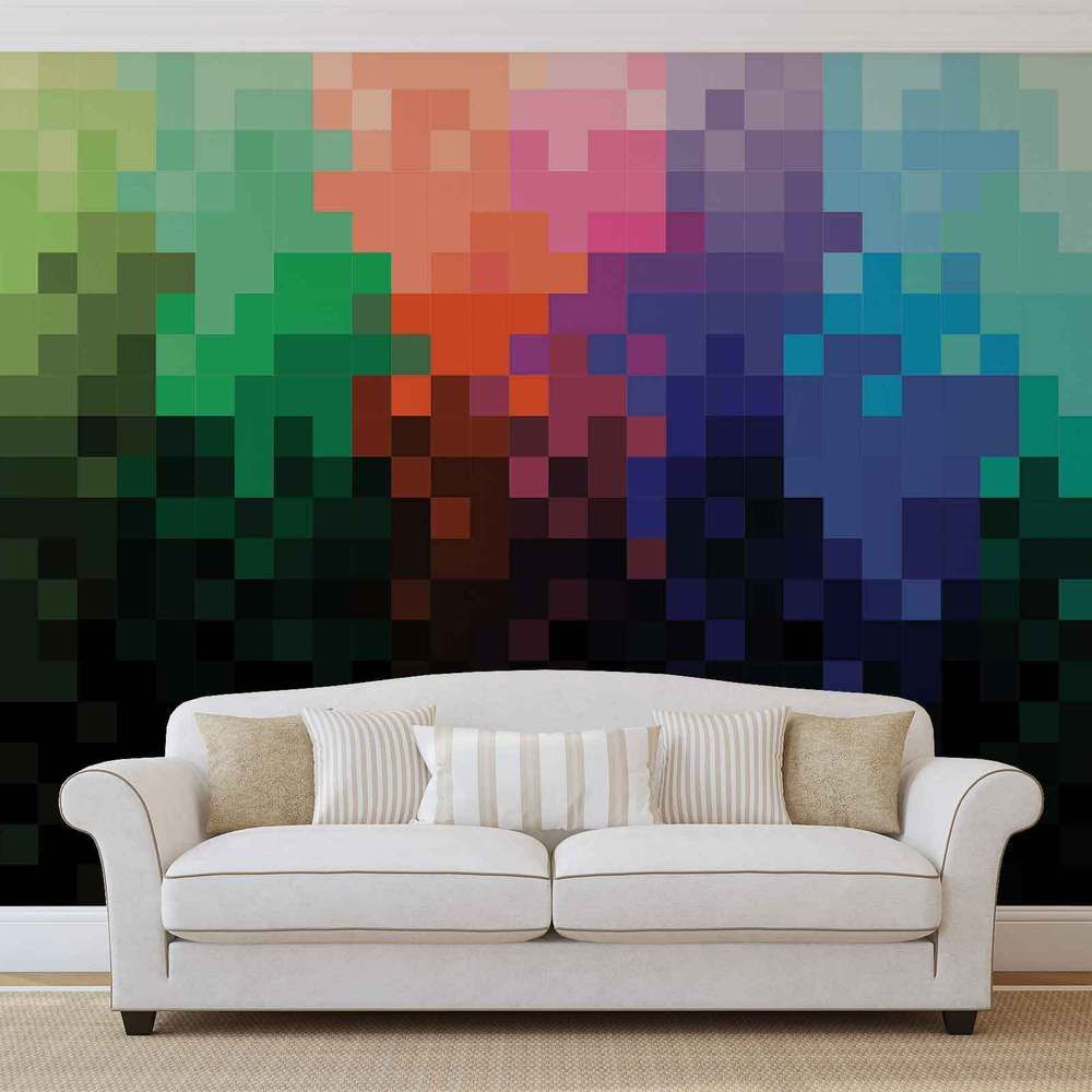 Rainbow Pattern Pixel WALL MURAL PHOTO WALLPAPER (1483DK