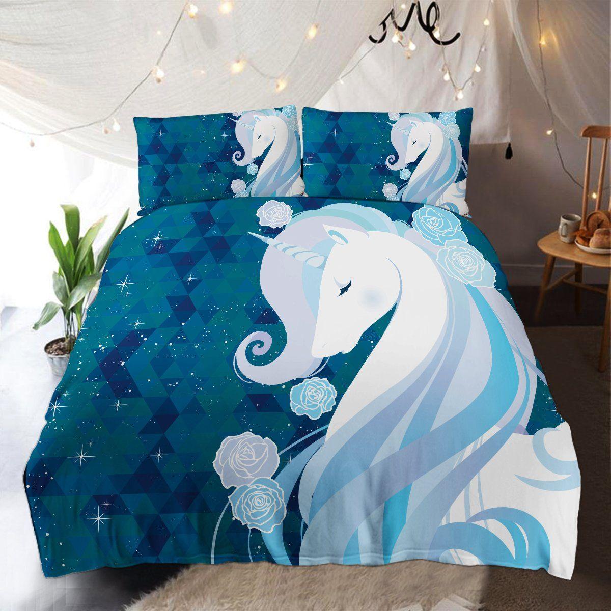 Cute Blue 3d Printed Unicorn Bedding Set Duvet Cover Shop For Sale