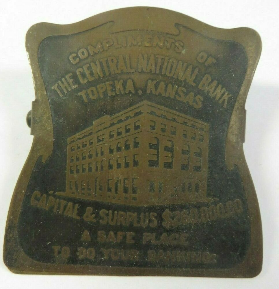 Antique Metal Paper Clip CENTRAL NATIONAL BANK Advertising