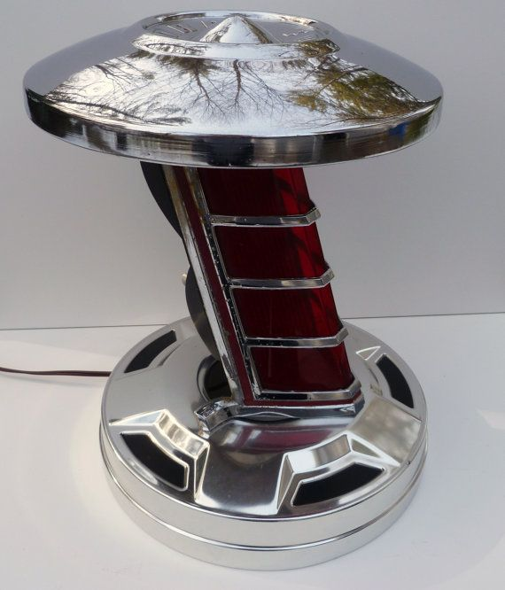 International Harvester Table Lamp : Vintage chrome car parts table lamp industrial by