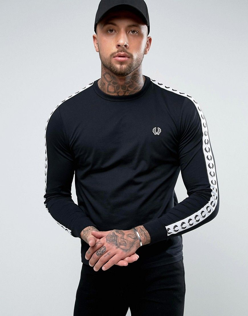 Fred Perry Slim Fit Sports Authentic Taped Long Sleeve T Shirt In