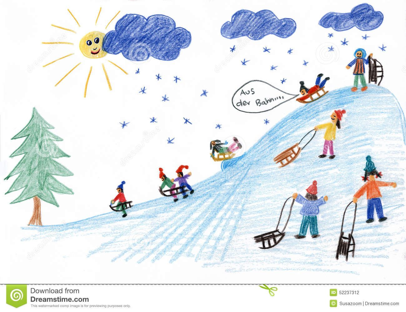 Sledding Kids On The Hill - Children Painting - Download From Over ...