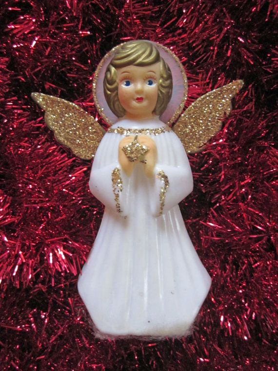 Vintage Angel Tree Topper Christmas Gold With Glitter Embellishments And Wings Bea Vintage Christmas Tree Toppers Vintage Christmas Tree Christmas Tree Toppers
