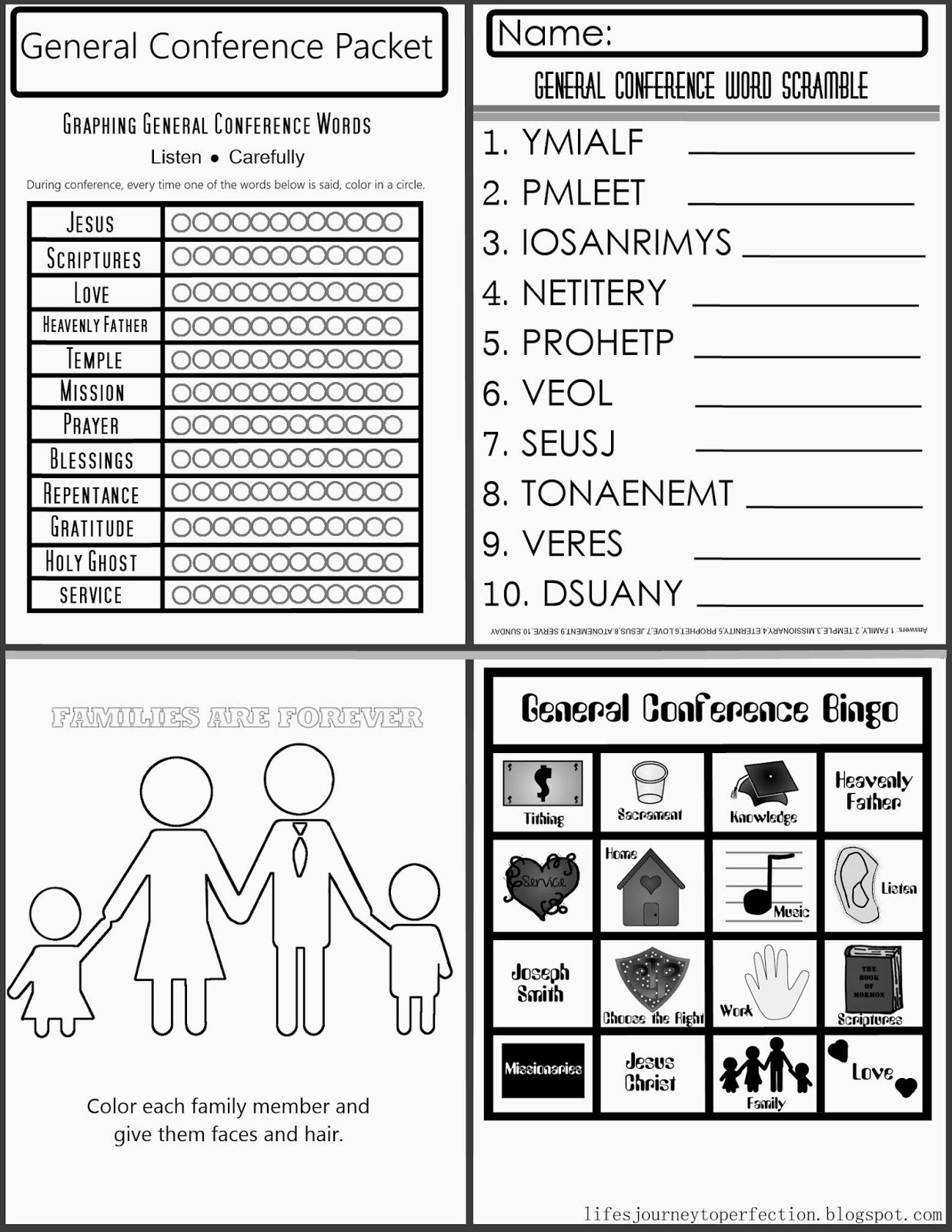 General Conference Printable for Primary   General conference ...