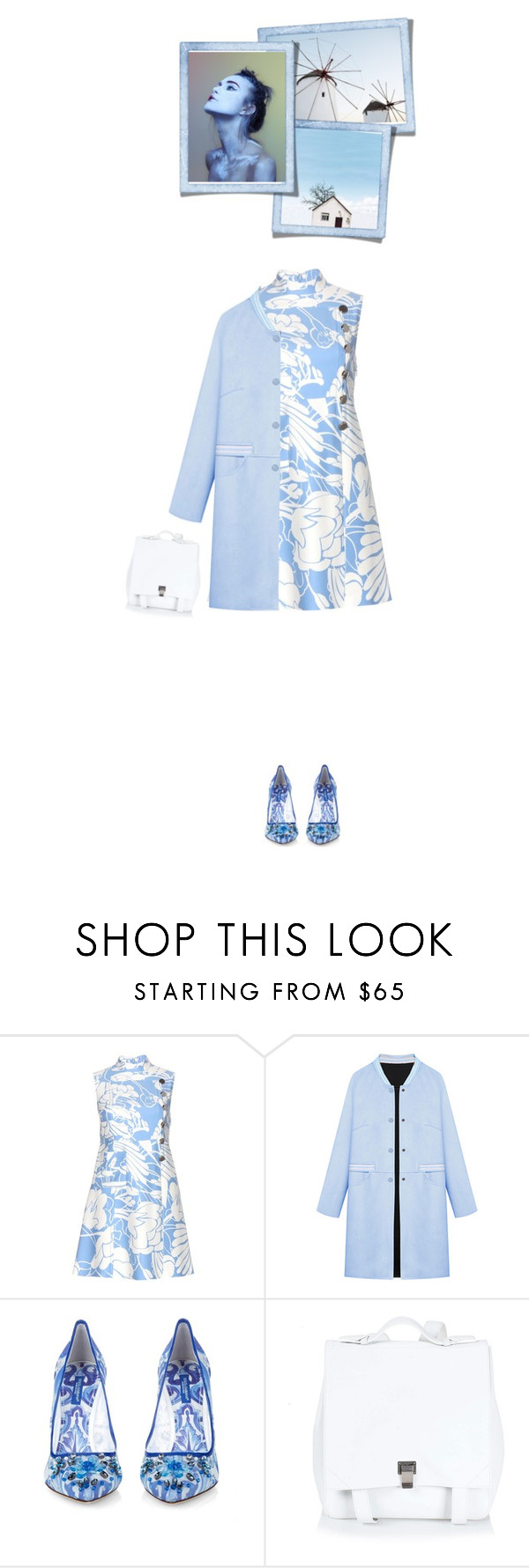"""""""Blue Suedette Striped Collar And Pocket Longline Trench Coat"""" by bodangela ❤ liked on Polyvore featuring Miu Miu, WithChic, Dolce&Gabbana, Proenza Schouler, women's clothing, women's fashion, women, female, woman and misses"""
