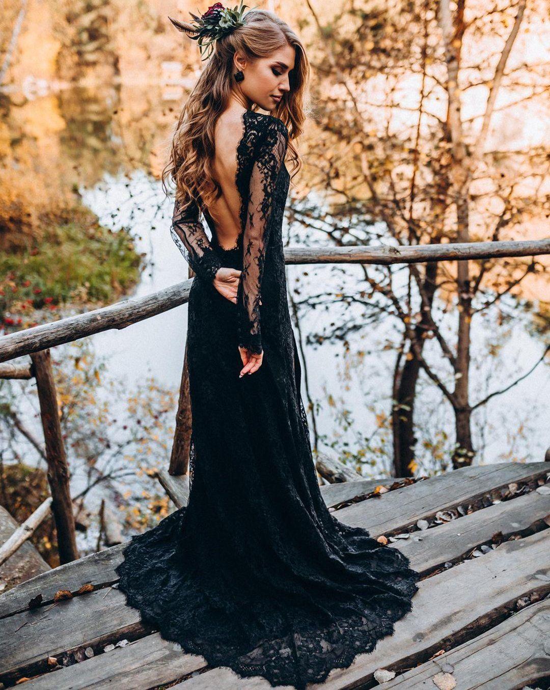 24 Black Wedding Dresses With Edgy Elegance Black Wedding Dresses Black Bridal Dresses Goth Wedding Dress Black [ 1354 x 1080 Pixel ]
