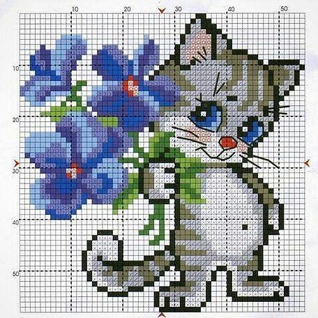 Modèles de chat au point de croix (étamine)   – kedicik