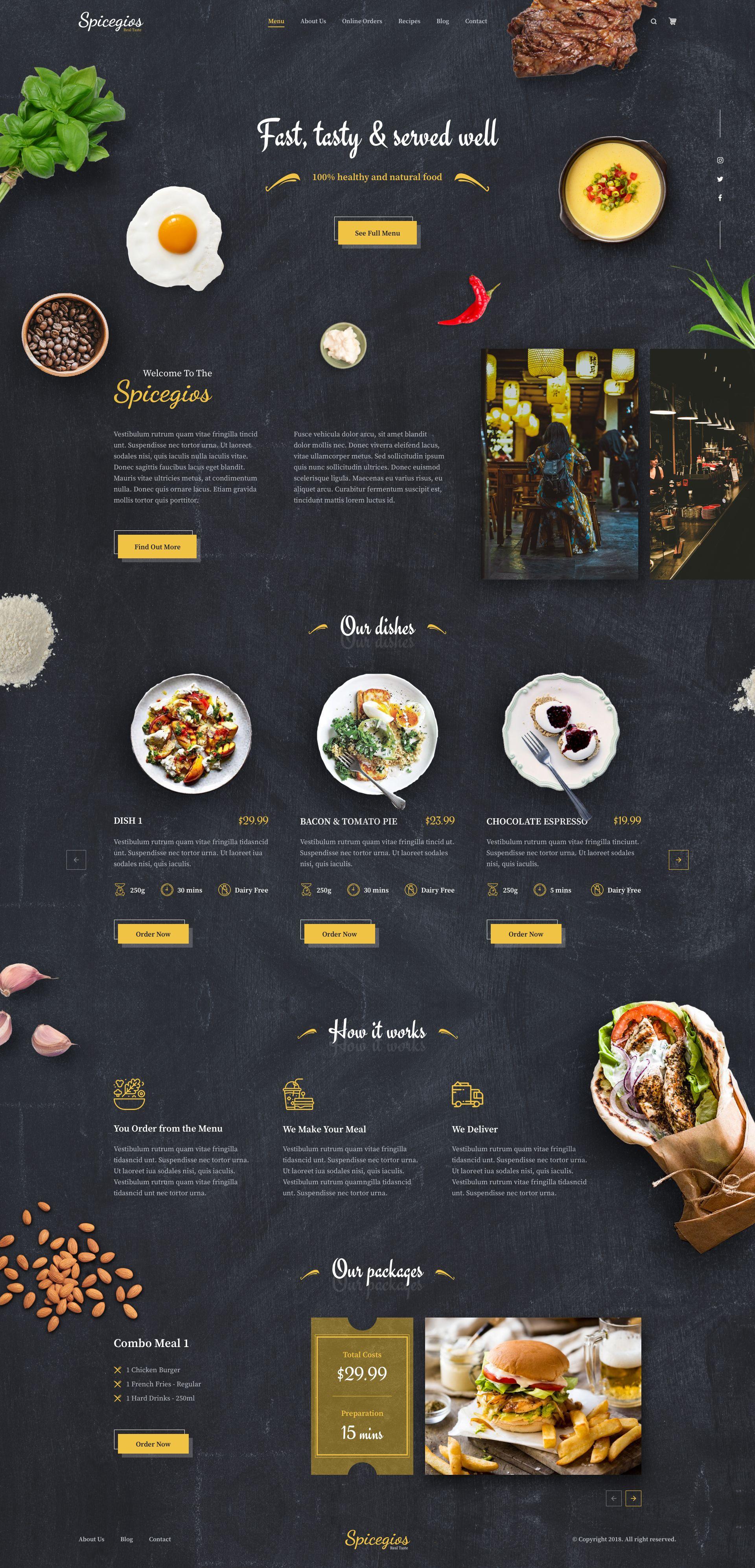 Spicegios Restaurant Landing Page Food Website Design Food Web Design Restaurant Website Design