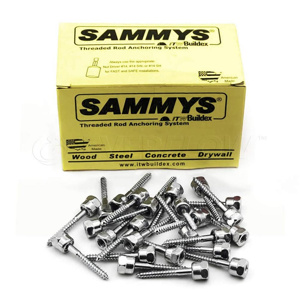 Sammy 1 4 In X 3 In Vertical Rod Anchor Super Screw 3 8 In Threaded Rod Fitting For Wood 25 Pack Steel Rod Wood Steel Forged Steel