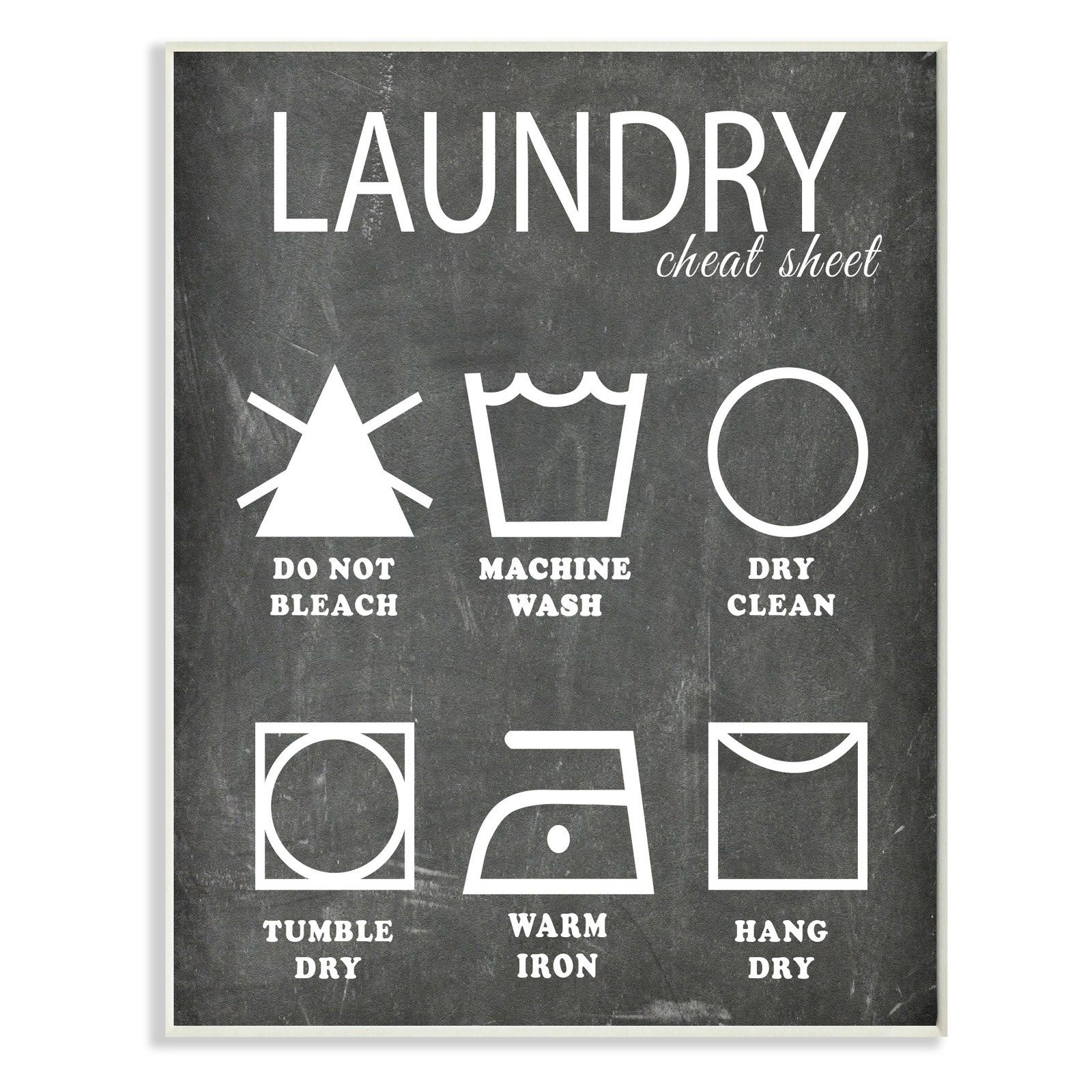 Laundry Wall Plaque Laundry Cheat Sheet Icons Chalk Look Wall Plaque Art  Wrp