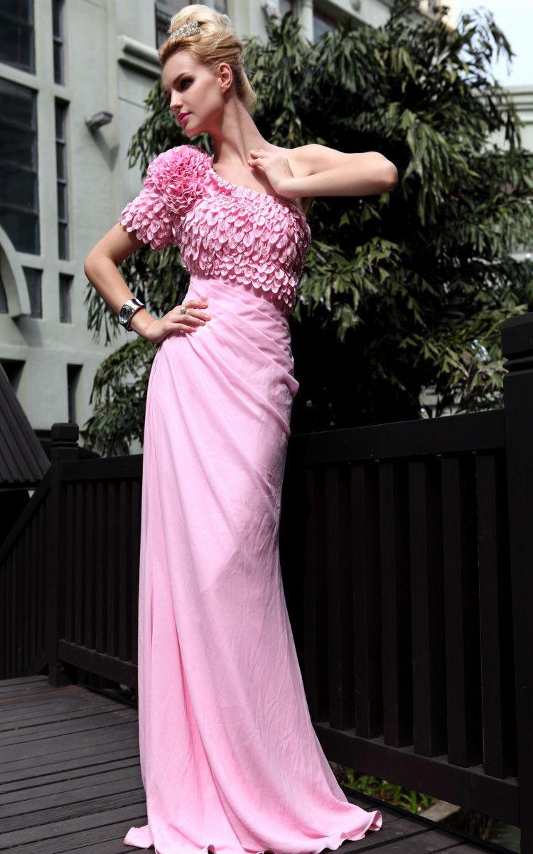 Hottest sale floral one shoulder pink prom gowns prom dresses