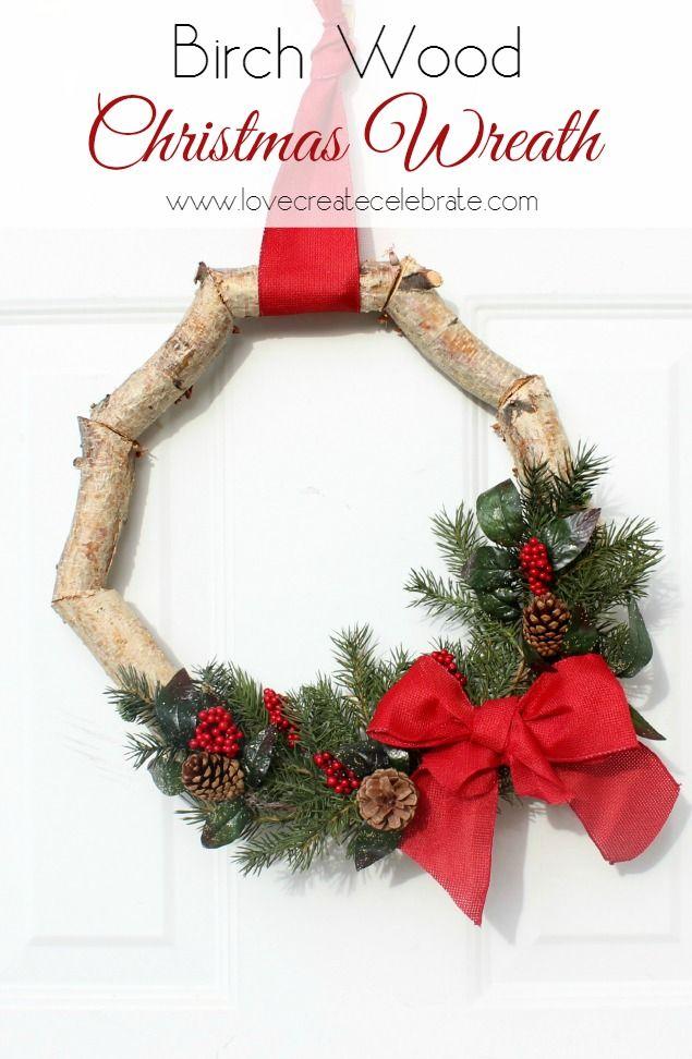 Christmas Birch Wood Wreath - Love Create Celebrate