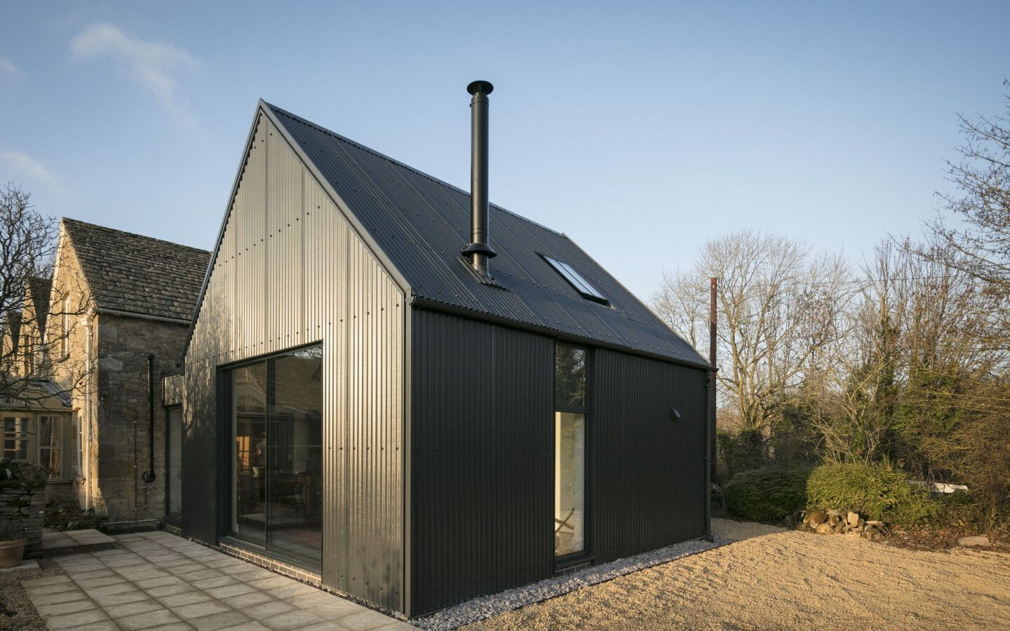 Corrugated Metal Extension Eastabrook Architects Archello In 2020 Corrugated Metal Roof Corrugated Metal Stone Cottages