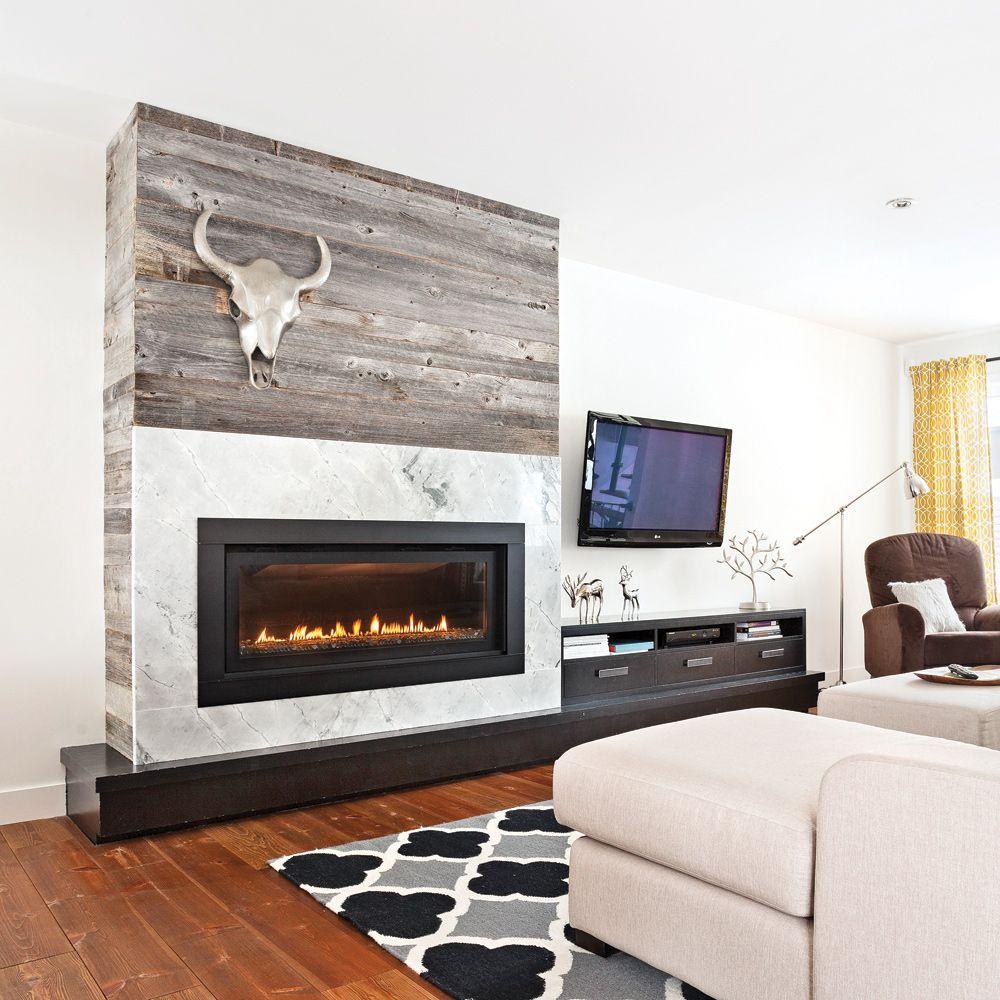 bois de grange autour du foyer salon pinterest foyers salons and foyer au gaz. Black Bedroom Furniture Sets. Home Design Ideas
