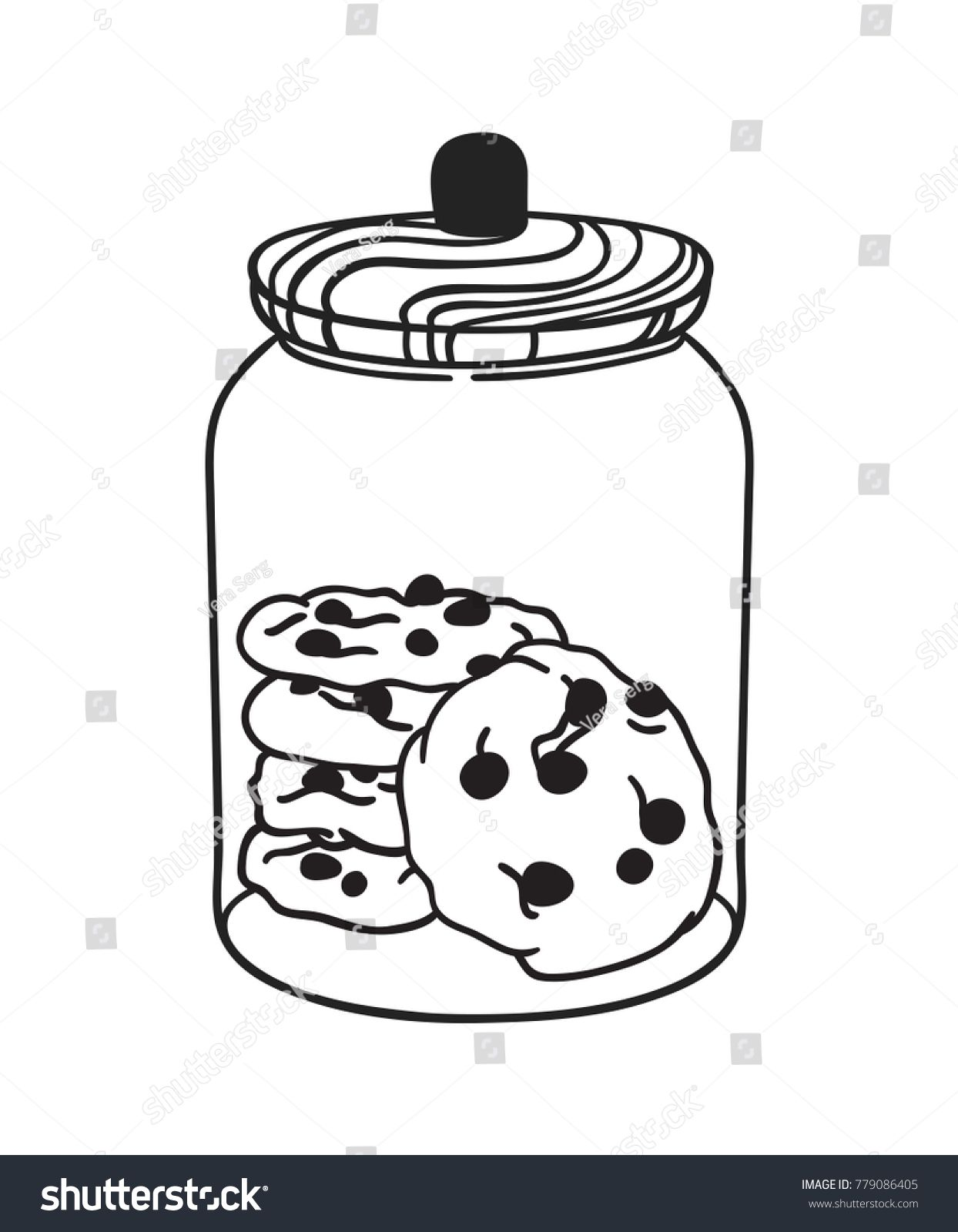 Hand Drawn Illustration Glass Jar And Cookies Creative Ink Art Work Actual Vector Drawing Bake Ad Cookie Drawing Drawing Illustration How To Draw Hands