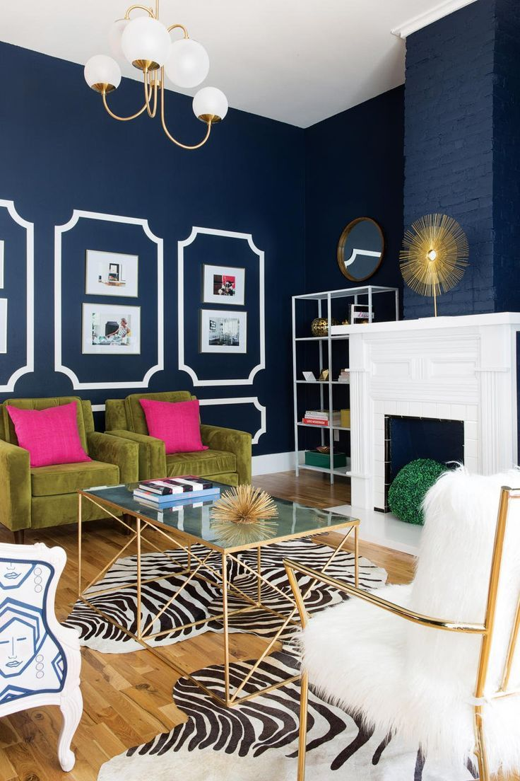 Ecclectic Living Room, Navy Blue Walls, Animal Print