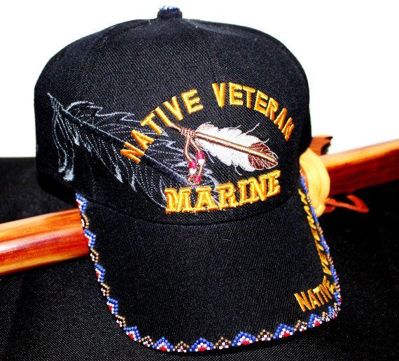 3f28b3f8a2b Native Veteran Beaded Baseball Cap Marines by TheRegalRaven