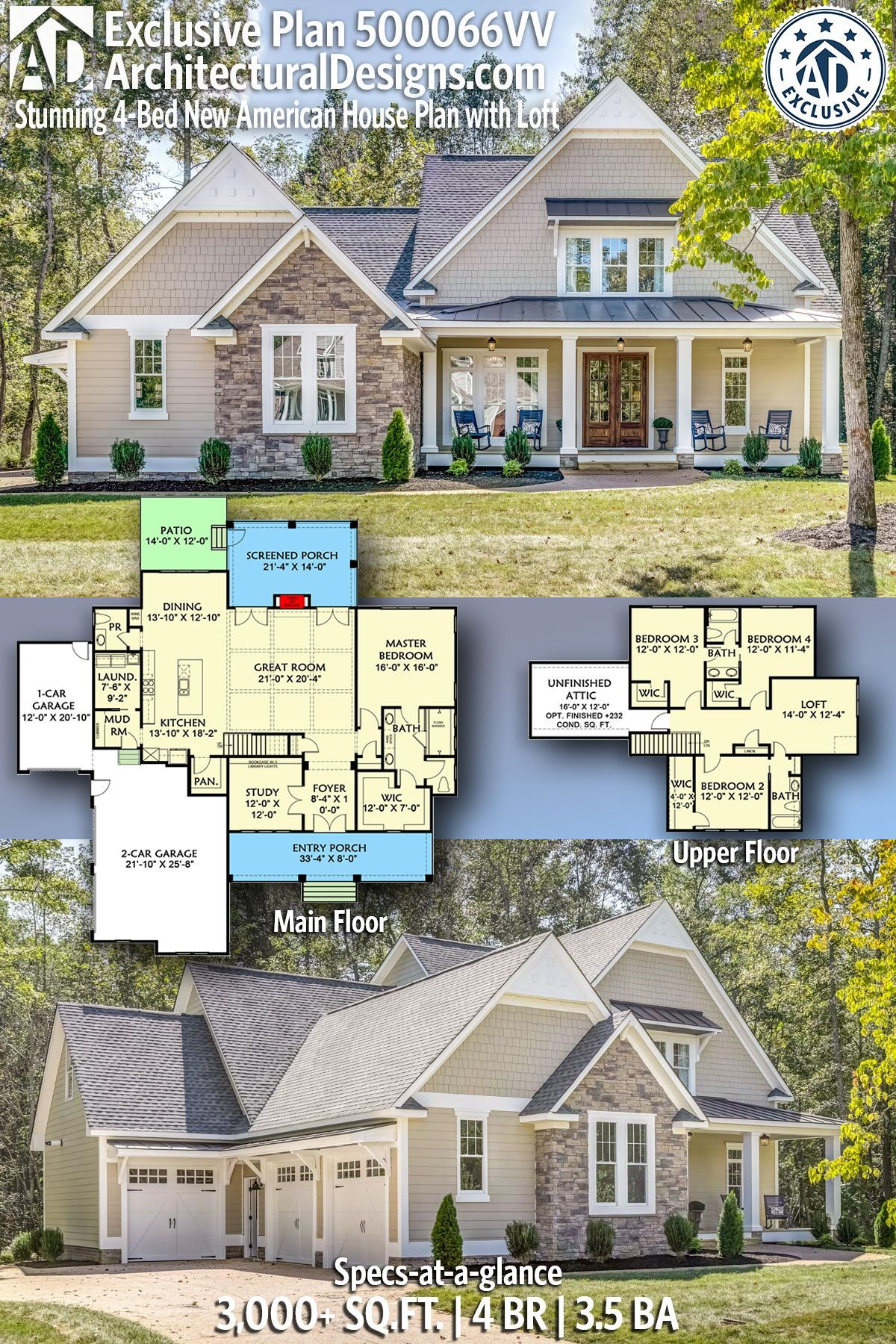 Plan 500066vv Stunning 4 Bed New American House Plan With Loft And Unfinished Attic Space House Plan With Loft Craftsman House Plans American Houses