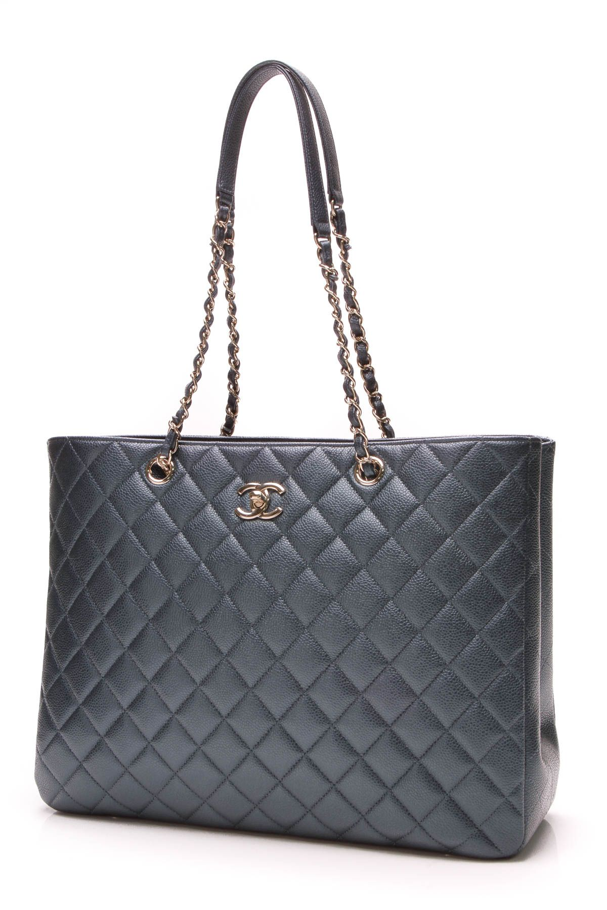bd19f1eaca81c3 Chanel Classic Large Shopping Tote Bag - Dark Blue   Crazy for Coco ...