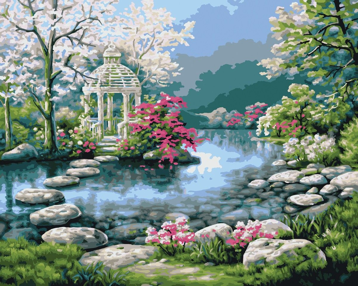 beautiful garden paintings love your place peaceful japanese gardens - Flower Garden Paintings