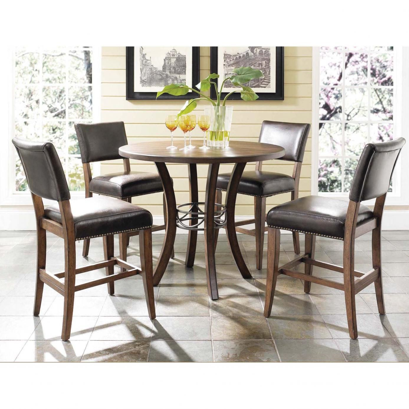 Elegant Hillsdale Furniture Cameron 5 Piece Counter Height Round Wood Dining Set  With Parson Stools