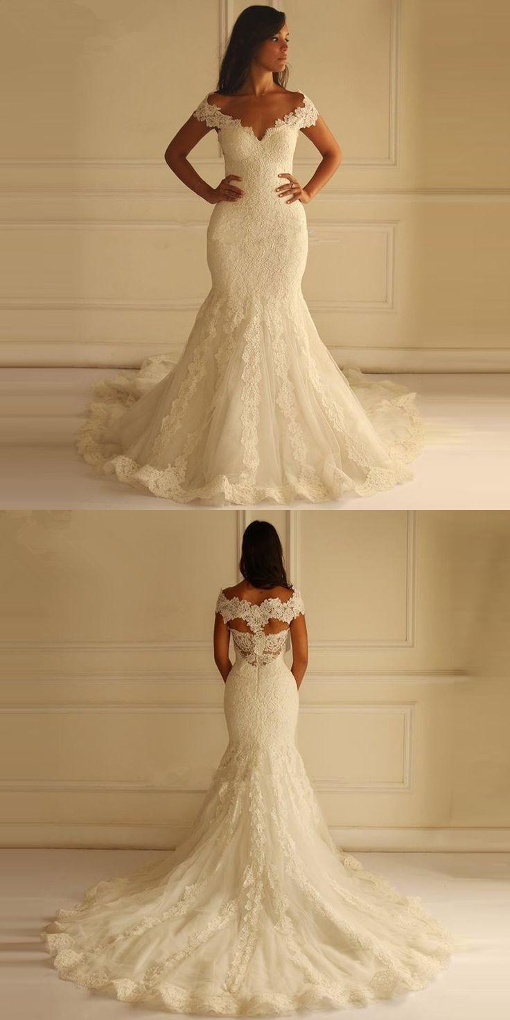Robe de mariage sweetheart romantic wedding dresses cap sleeve