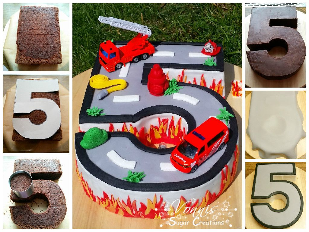 Geburtstag Kuchen Birthday Cake Boy Number Fondant Fire Roadtruck