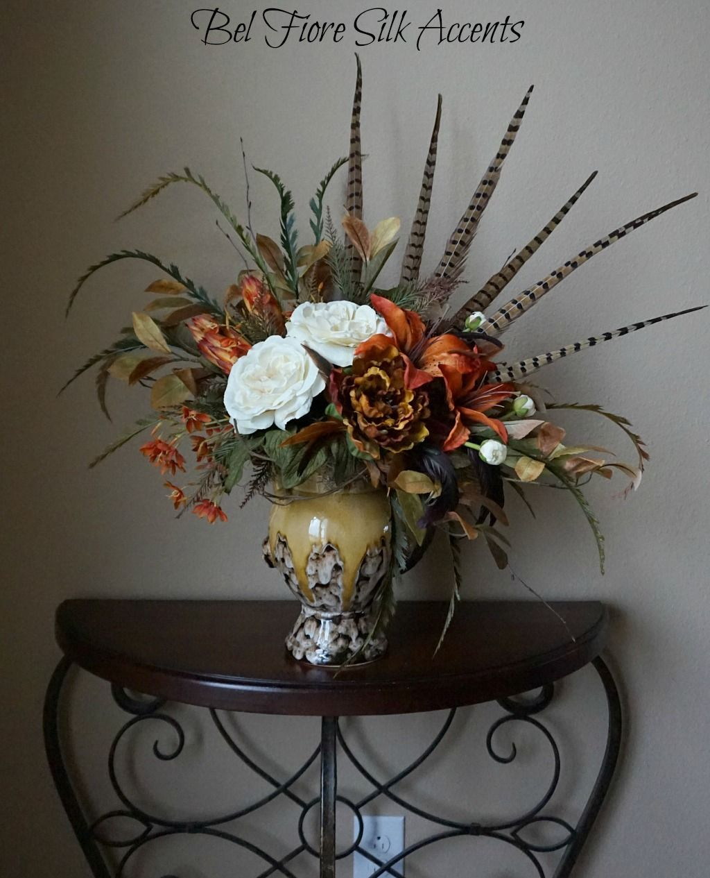 Silk floral with feathers | Table flower arrangements ...
