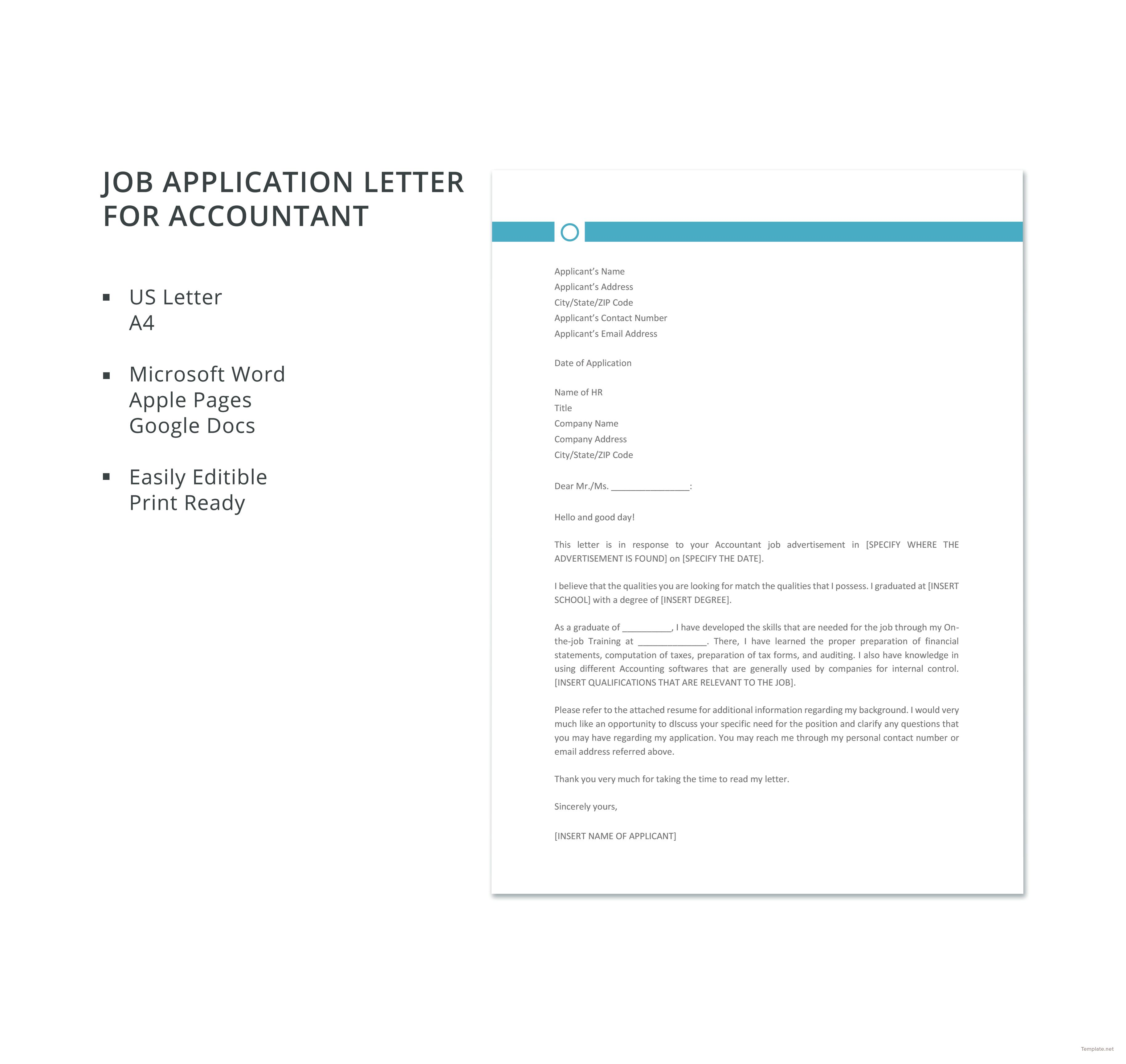 Free Job Application Letter Template For Accountant | Job ...
