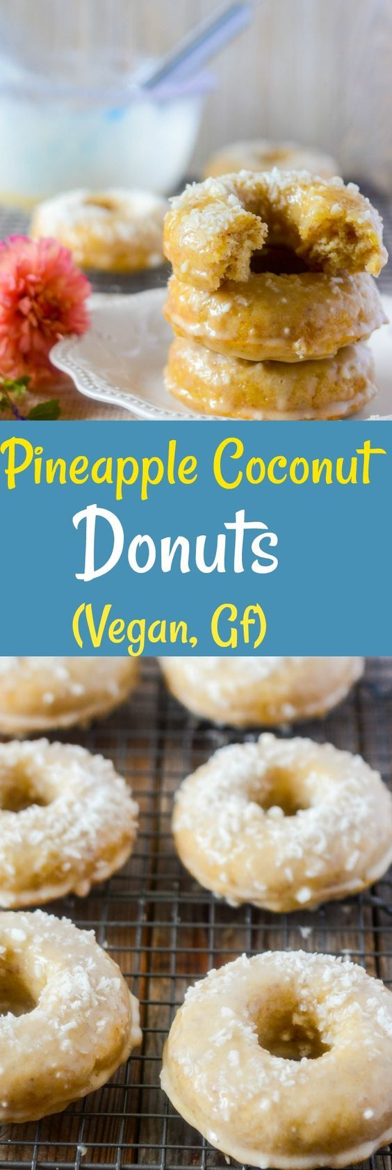 These Vegan Pineapple Coconut Donuts are so moist and flavorful.