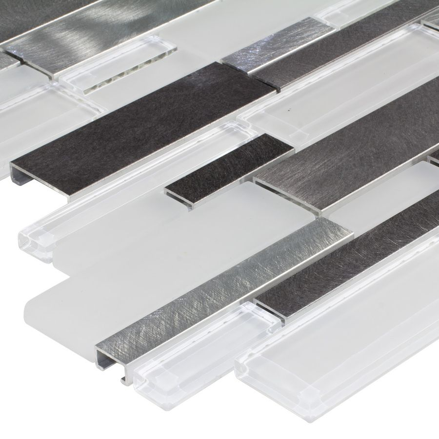 shop elida ceramica avalanche mixed material glass and metal shop elida ceramica avalanche white linear mosaic glass and metal wall tile common x actual