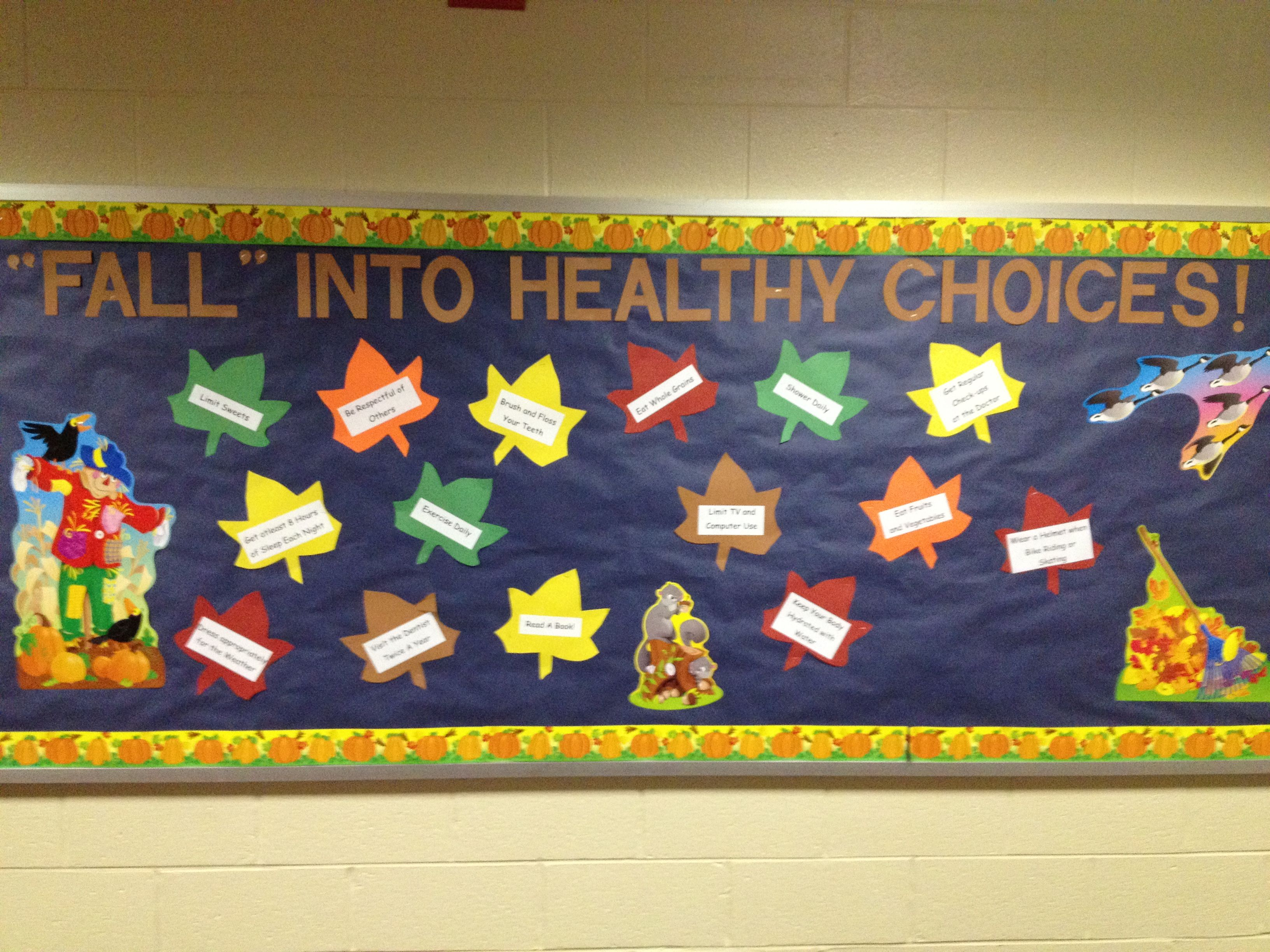 Go green vegetable bulletin board idea myclassroomideas com - Fall Into Healthy Choices