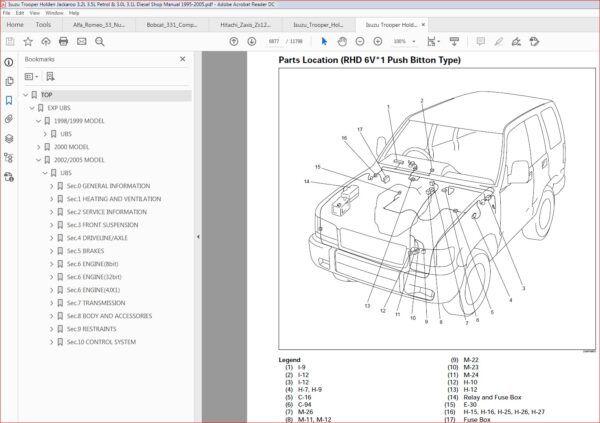 Isuzu Trooper Holden Jackaroo 3 2l 3 5l Petrol 3 0l 3 1l Diesel Shop Manual 1995 2005 Download In 2020 Repair Manuals Nissan Repair