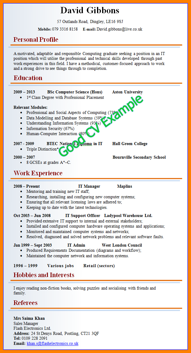 8 How Cv Look Like Boy Friend Letters Good Resume Examples Good Cv Job Resume Samples