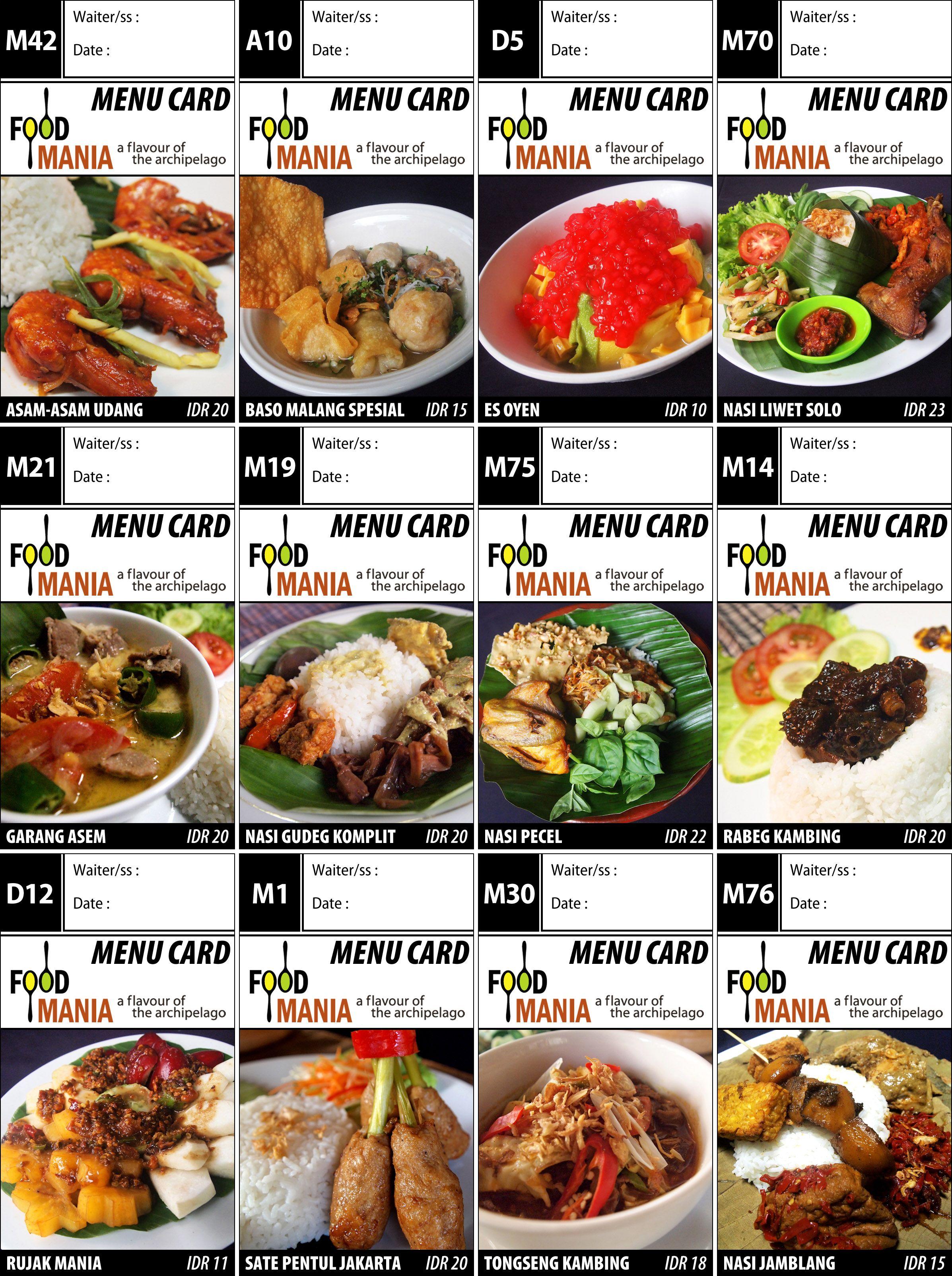 Menu Card Makanan Indonesia Food Food Menu