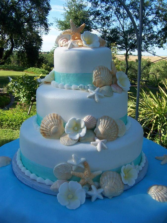 Beach Theme Wedding Cake — Seashells /Ocean/Beach Beach