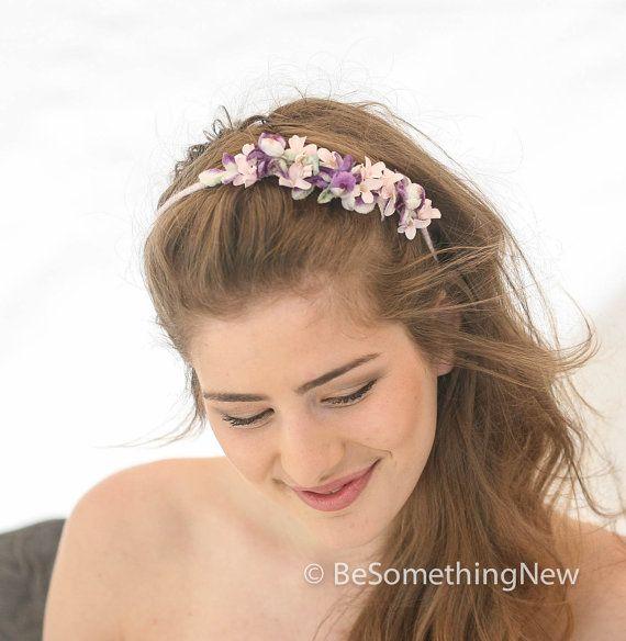 Lavender and Pink Vintage Flower Headband, Garden Wedding Head Piece, Bridal Flower Crown, Bohemian Vintage Flower Headband, Wedding Hair