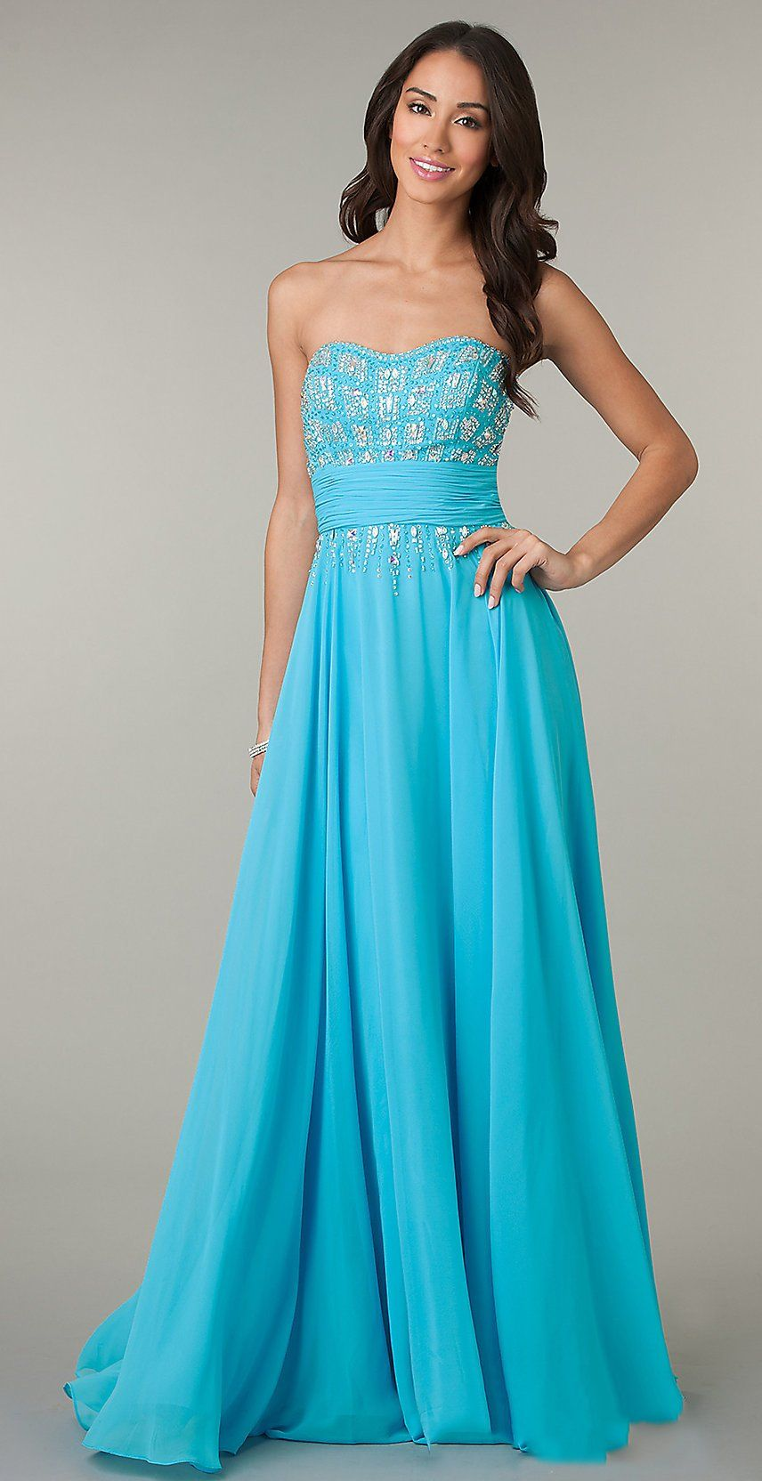 Sheath Turquoise Prom Chiffon Gown Long Strapless Flowy Sparkly Top ...
