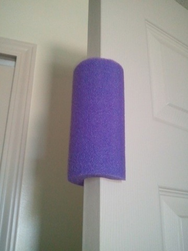 Cut And Attach Pool Noodle to the Doors
