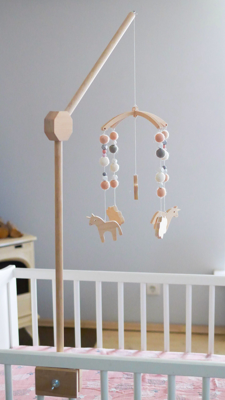Cot mobile hanger Baby mobile hanger Crib wooden