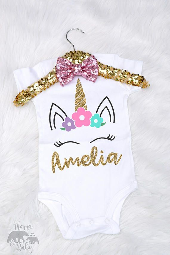 Baby Girl One Unicorn Onesie, Toddler Unicorn Shirt, First Birthday ...