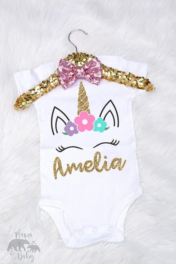 7ed23df31 Unicornio mono de bebé niño unicornio camiseta personalizada