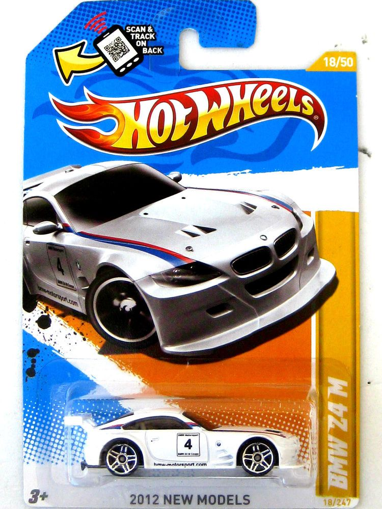 Hot Wheels 2012 New Model BMW Z4 M White #4 BMW MOTORSPORT LOGO
