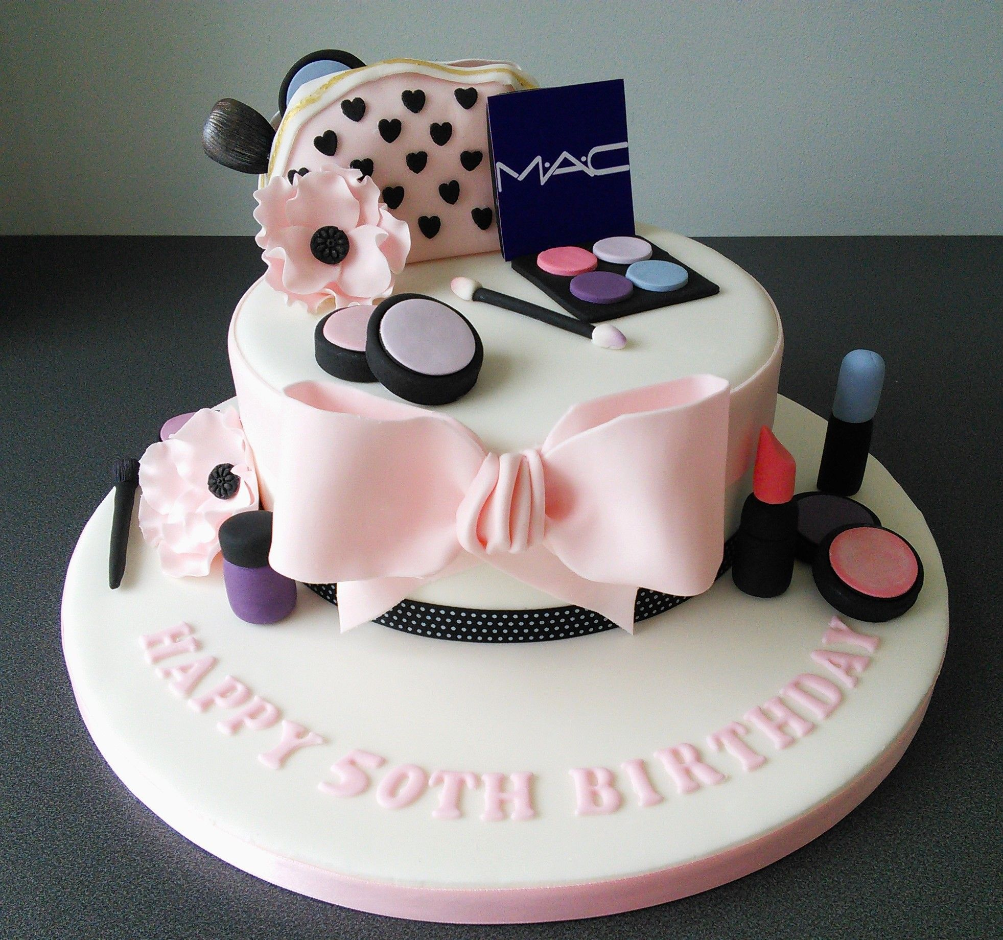 Groovy 50Th Birthday Mac Make Up Cake With Make Up Bag Flower And Bow In Funny Birthday Cards Online Elaedamsfinfo
